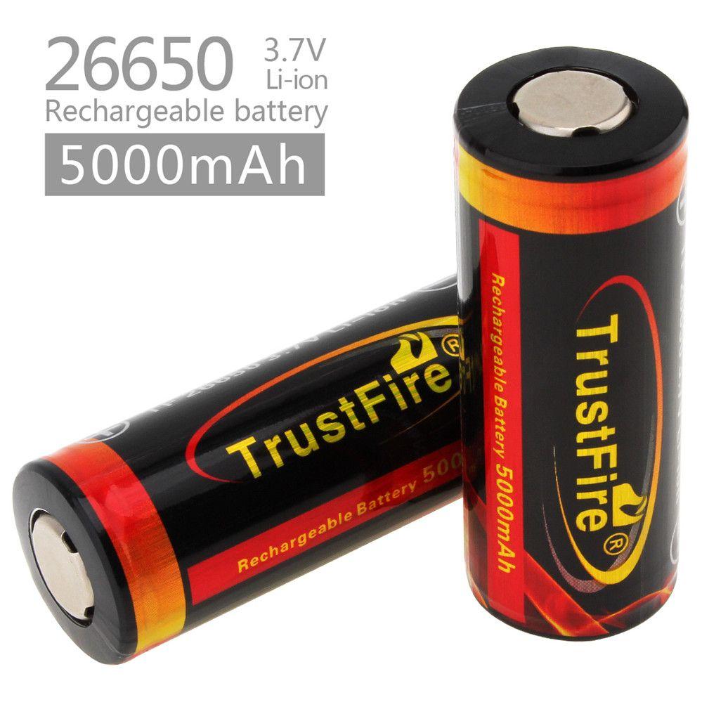 2 pcs! TrustFire 3.7 V 26650 Haute Capacité 5000 mAh Rechargeable Li-ion Batterie avec PCB Protégée pour LED lampes de Poche Projecteurs