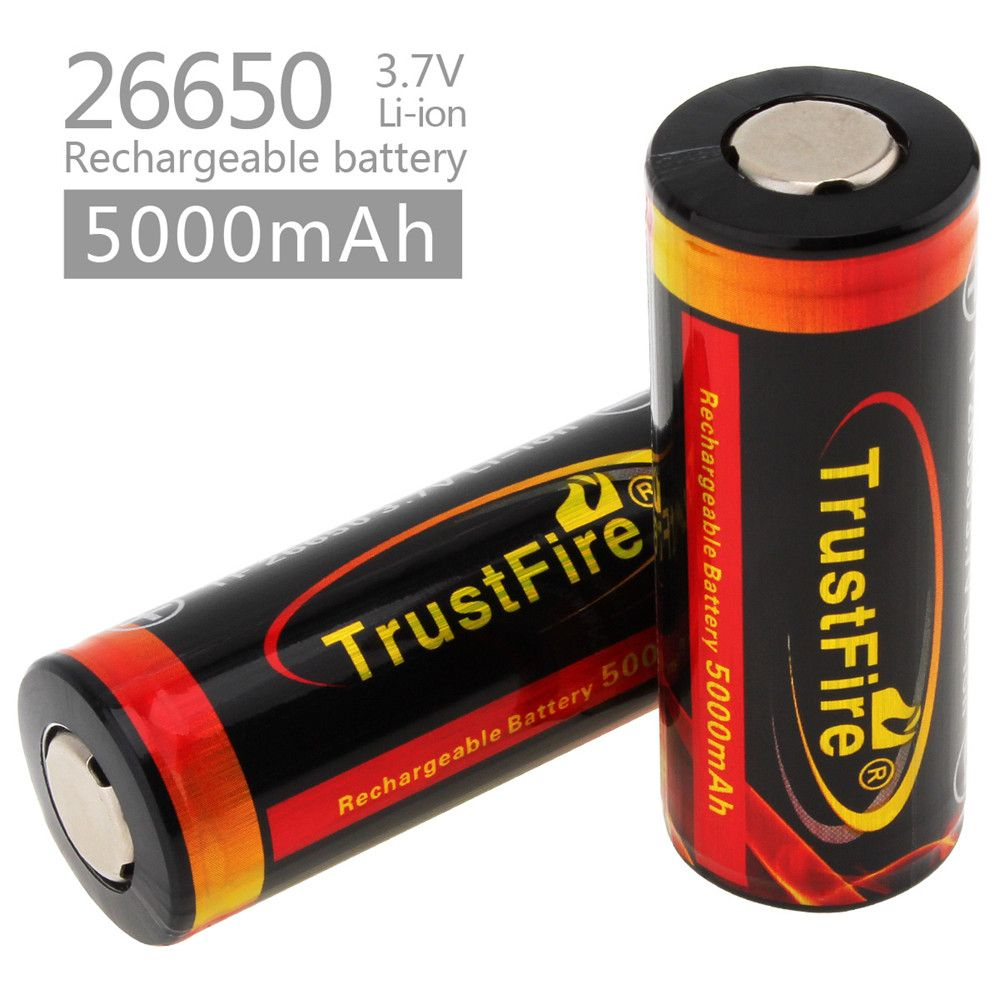 2pcs! TrustFire 3.7V <font><b>26650</b></font> High Capacity 5000mAh Rechargeable Li-ion Battery with Protected PCB for LED Flashlights Headlamps
