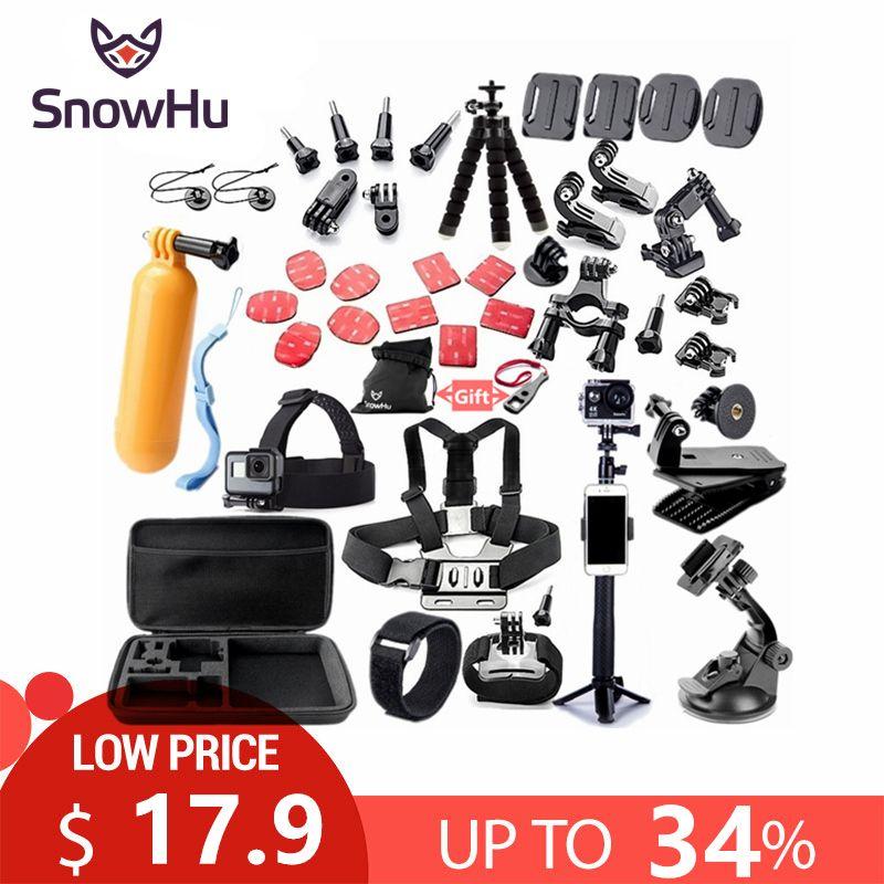 SnowHu pour Gopro accessoires set monture pour go pro hero 7 6 5 4 3 noir pour xiaomi yi 4 K action caméra accessoires étui GS52