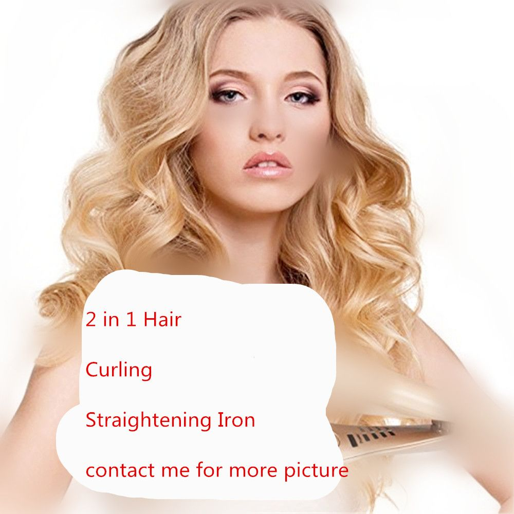 2 in 1 Hair Curlers Straightener Perm Styling Rolloer Styler Curler Tools Wand Hair Curling & Straightening Iron Hair Styler