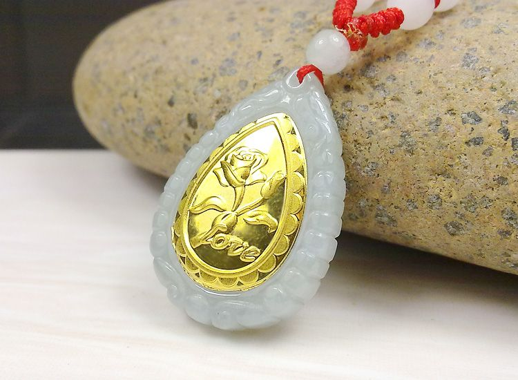 Fashion Design Top Quality Flower Gold Jade Necklace For Men Women Hot Sales Pendant