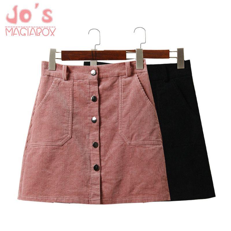 2017 printemps Harajuku bureau dame école femmes jupe courte Denim Style bouton une ligne velours côtelé taille haute poche Mini jupe