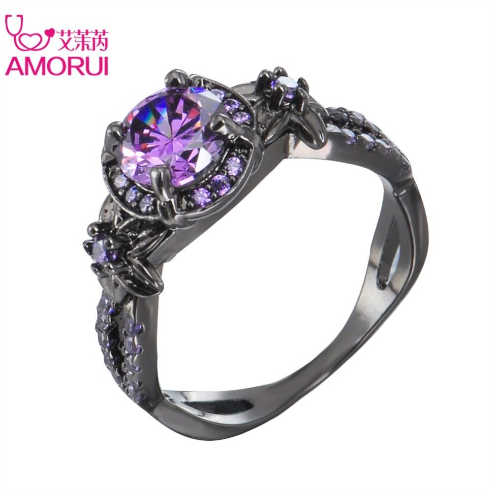 AMORUI Women Trendy Wedding Bands Alloy Black Color Love Ring Purple Cubic Zircon Rings for Women Fashion Party Ring Jewellery