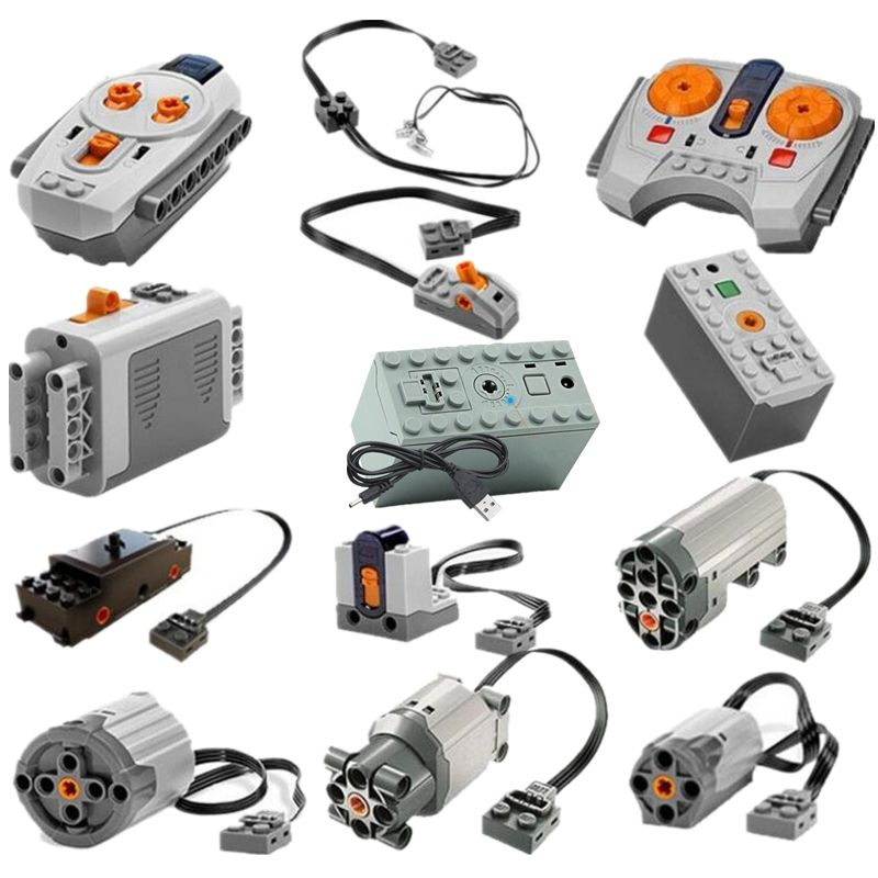 Motor Technic Series 8883 8881 8882 Train Remote Control Battery Box Switch LED Light Power Functions With Legoinglys