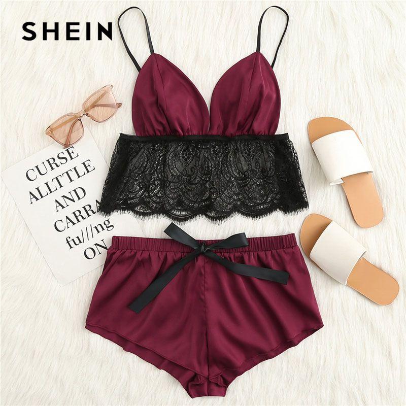 SHEIN Contrast Lace Hem Satin Cami Top And Shorts Pajamas Set 2018 Summer New Women Spaghetti Strap Sleeveless Sexy Nightwear