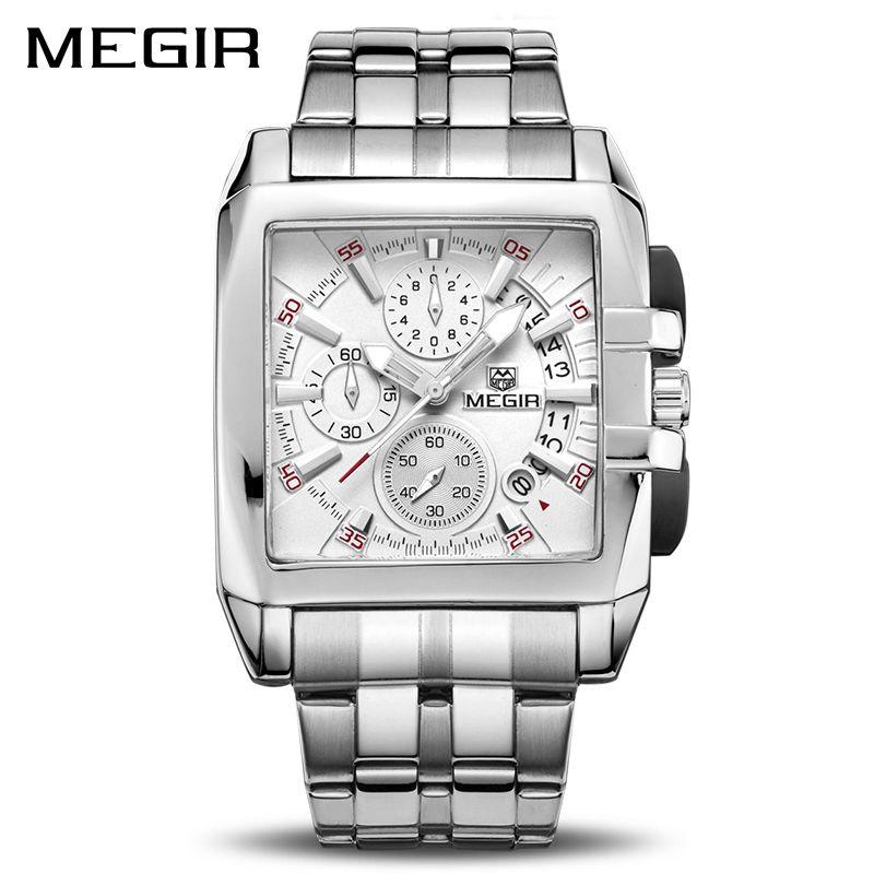 MEGIR Original de luxe hommes montre en acier inoxydable hommes Quartz montres d'affaires grand cadran montres Relogio Masculino 2018