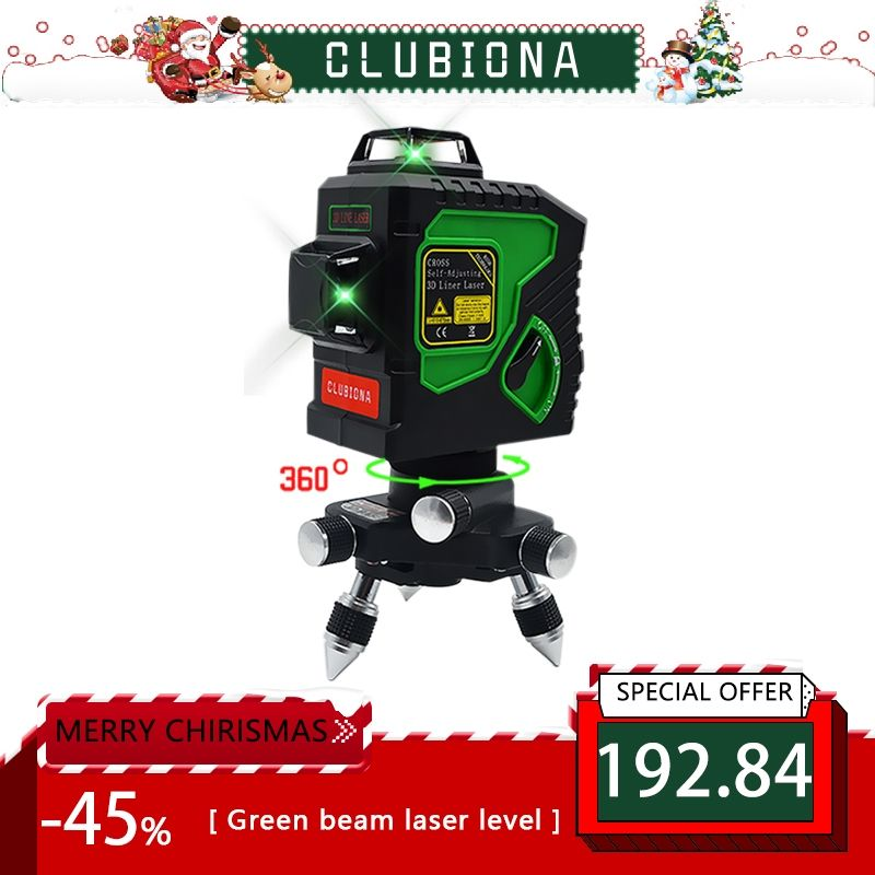 Clubiona 3D 12GH 12 Lines Laser Level with <font><b>Self</b></font>-Leveling 360 Horizontal And Vertical Cross Super Powerful GREEN Laser Beam Lines
