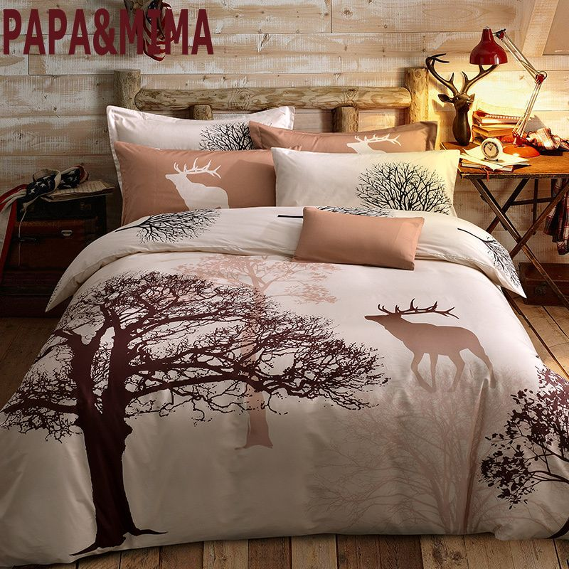 Papa&Mima fresh style trees deer bedlinens high quality sanding cotton fabric Queen/King size duvet cover set bedding set
