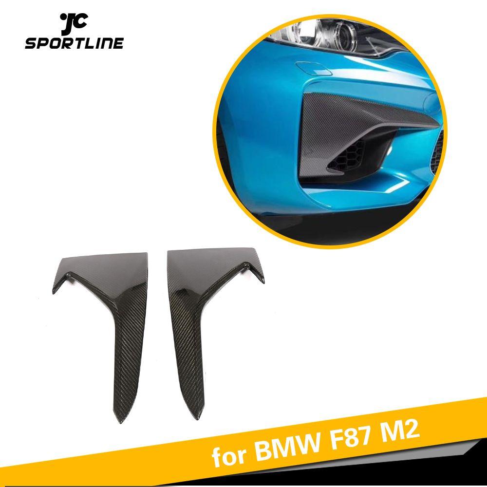 Für BMW F87 M2 Carbon Faser Auto Vorderen Stoßfänger Oberen Splitter Lip Air Vent Fender Trim 2016 2017 2018