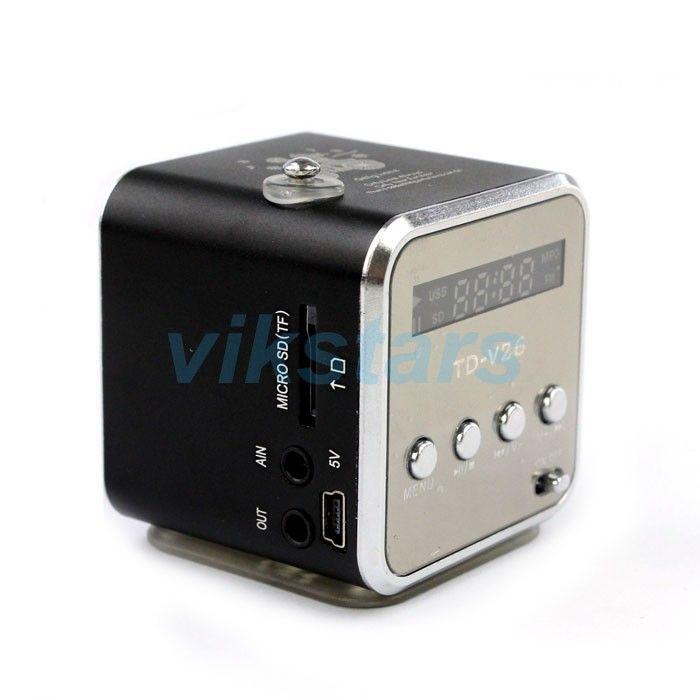Haut-parleur portable TF USB internet radio FM, téléphone mobile vibrations ordinateur lecteur de musique haut-parleur, multifonction FM radio V26R