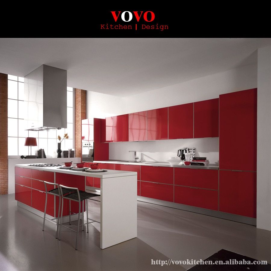 High gloss red integrated kitchen furniture with bar island for breakfast