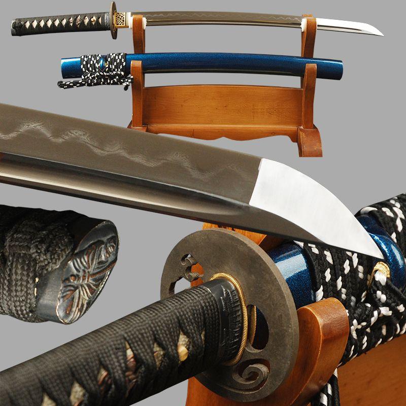Sharp Wakizashi Japanese Sword Full Tang Folded Steel Clay Tempered Blade Sword Handmade Tameshigiri Knife Vintage Home Decor