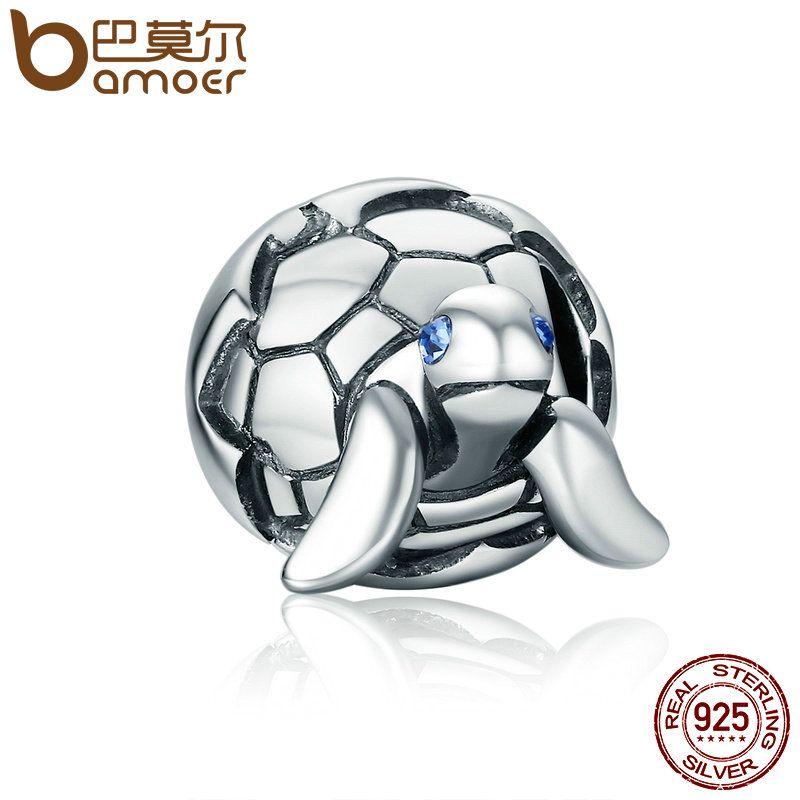 BAMOER Cute Design 925 Sterling Silver Reborn Turtle Tortoise & Clear CZ Beads fit Charm Bracelets & Bangles DIY Jewelry SCC192