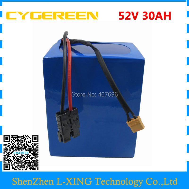 Freies gewohnheiten duty 2500 watt 52 v 30AH Lithium-batterie 51,8 v 30AH Elektrische fahrrad batterie verwenden 3,7 v 5000 mah 26650 zelle 50A BMS 4A Ladegerät