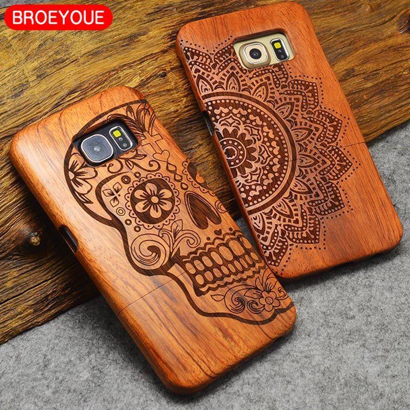 BROEYOUE Pour Samsung Galaxy S5 S7 S6 S8 Bord Plus Note 7 5 4 3 Caisse en bois Pour iPhone 5 5S 7 6 6 S 8 X Plus Bambou Sculpture Cas