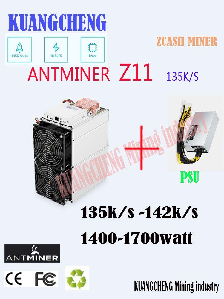 Kuangcheng in lager Antminer Z11 135k Sol/s Mit BITMAIN NETZTEIL Equihash Miner Besser Als Antminer Z9 S9 innosilicon A9