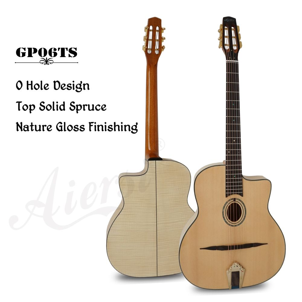 Arch Figured Maple Body Solid Top Petit Bouche Acoustic Gypsy Guitar With free guitar case and strap