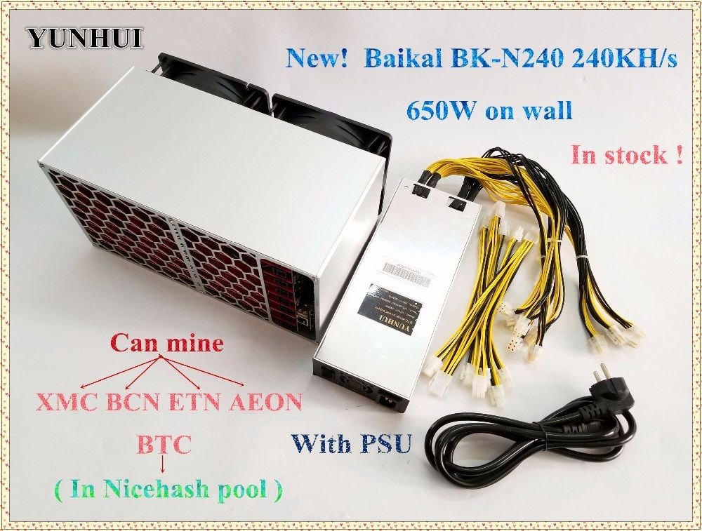Neue Miner BK-N240 Baikal N240 Cryptonight 240KH/S Cryptonight-lite 480KH/S 650 watt Mit NETZTEIL Besser als Atminer X3 freies verschiffen