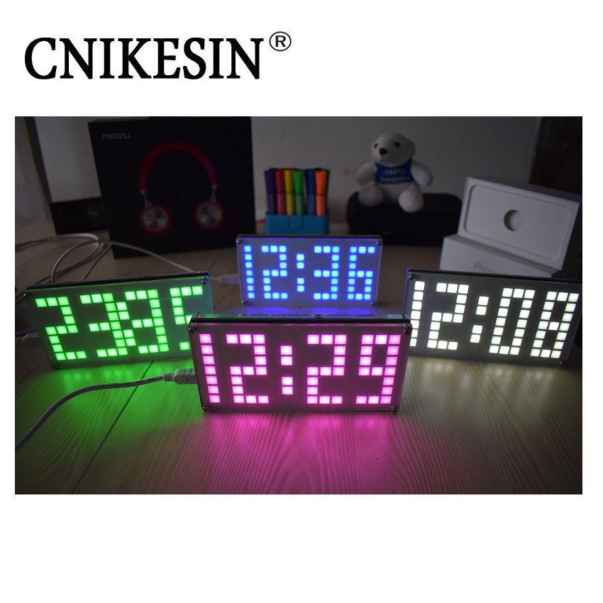 CNIKESIN DIY Kit DS3231 Réglable Grande taille Treillis horloge Électronique Kits Numérique Horloge Avec Acrylique Cas