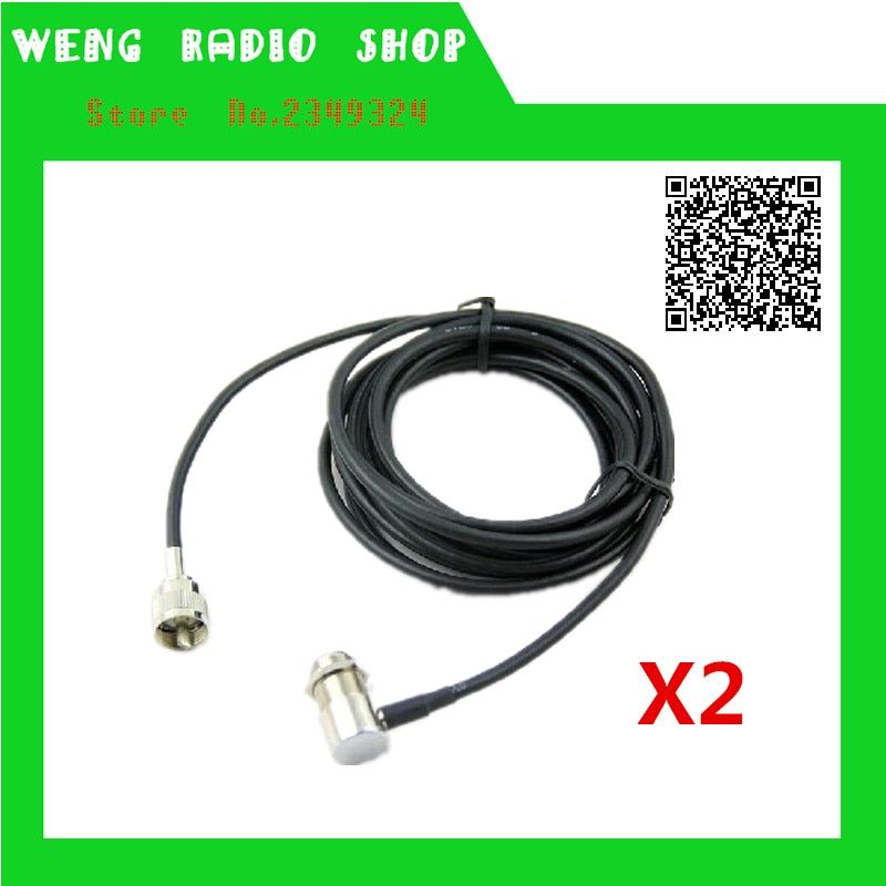 2PCS 5M cable car radio clip mount cable SO239 PL259 Connector Extend Cable Feeder Cable for mobile radio TH-9800 BJ-218 KT8900