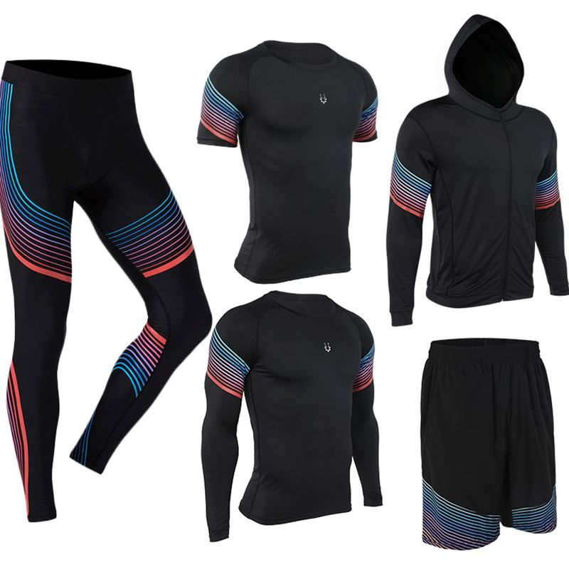 vansydical Men's Run set Brand Sports tight Fitness Suit Gym Wicking Compression Jogging sports tracksuits running sportswear