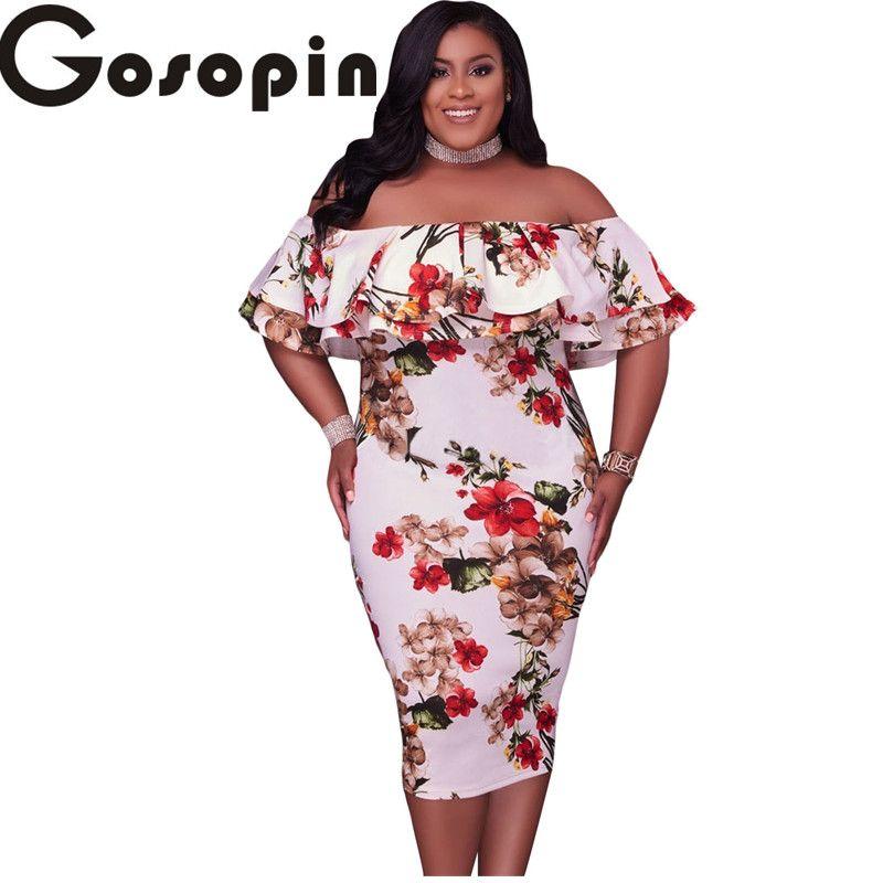 Gosopin Off Épaule Robes 2017 Floral Layered Ruffle Tout En Courbes Moulante Robe Plus La Taille XXXL Robes De Festa Longo LC61611