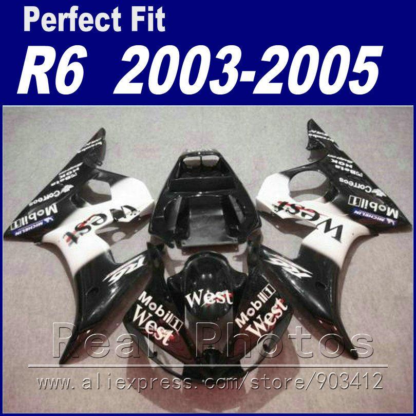Brandneuen motorrad-teile für yamaha r6 verkleidung kit 2003 2004 2005 West weiß schwarz Verkleidung YZF verkleidungen 03 04 05 OV32