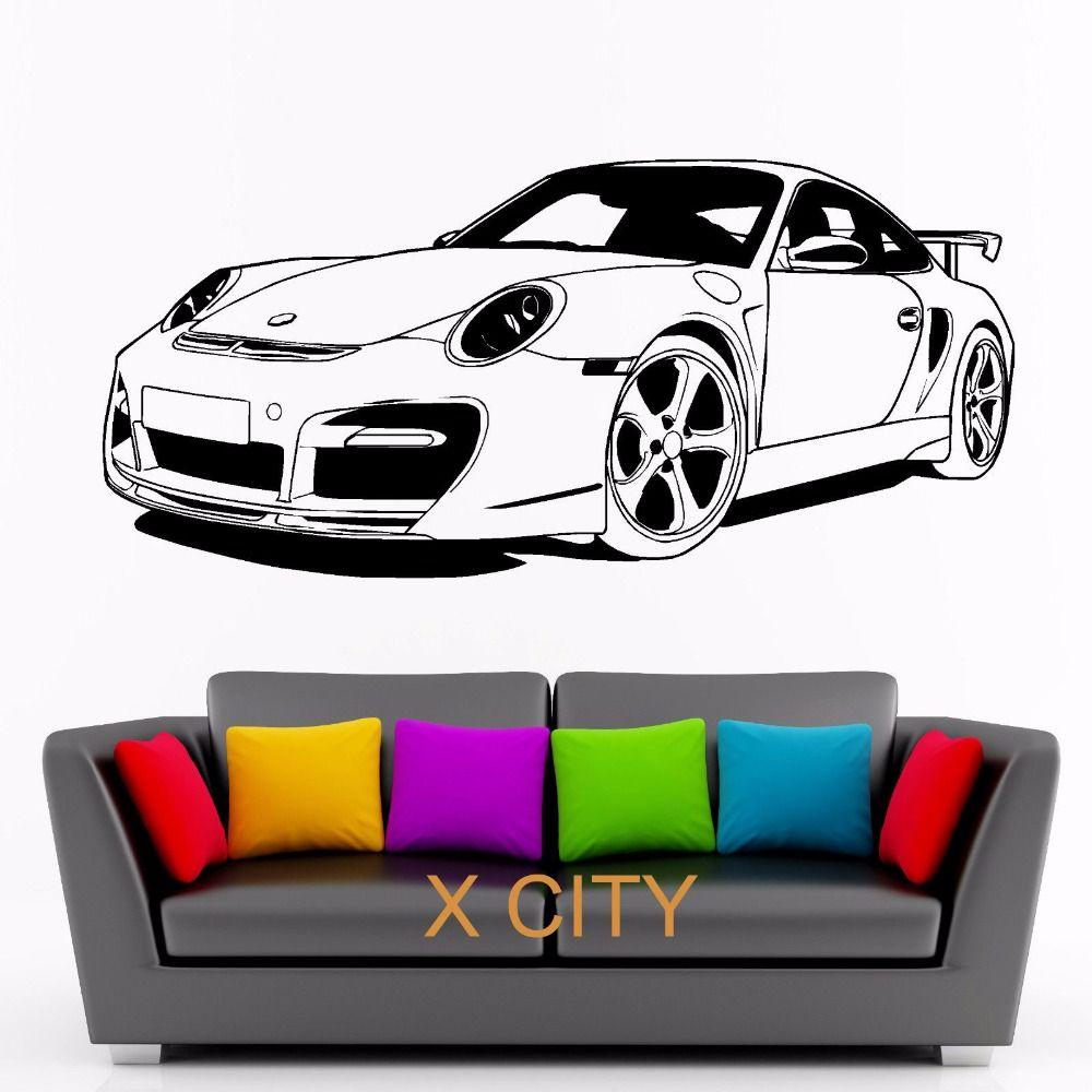 Pour PORSCHE 911 sport voiture club vinyle Sticker Mural Art décor autocollant salon porte pochoir Mural