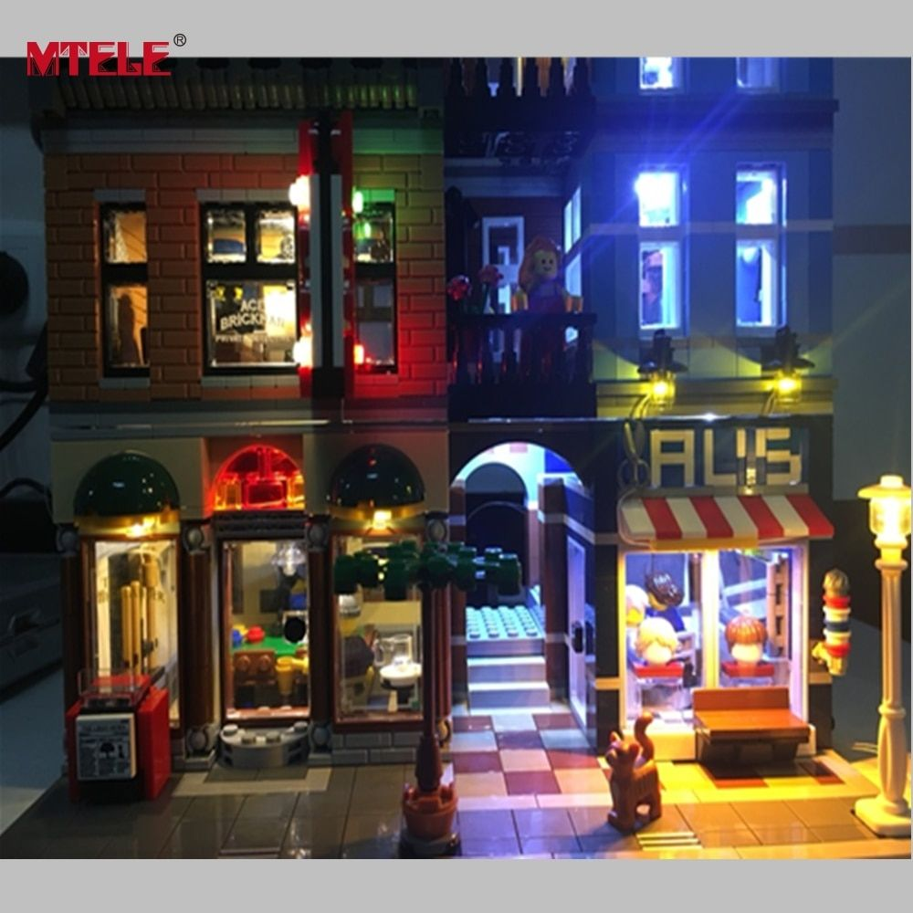 MTELE Brand LED Light Up Kit For Creator <font><b>City</b></font> Street Detective's Office Lighting Set Compatible With Lego 10246