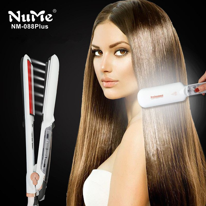 Professional Steam Hair Straightener Ceramic Vapor Infrared Heating Flat Iron Steampod Salon 2 inch Styling Tool Wet hairstyler