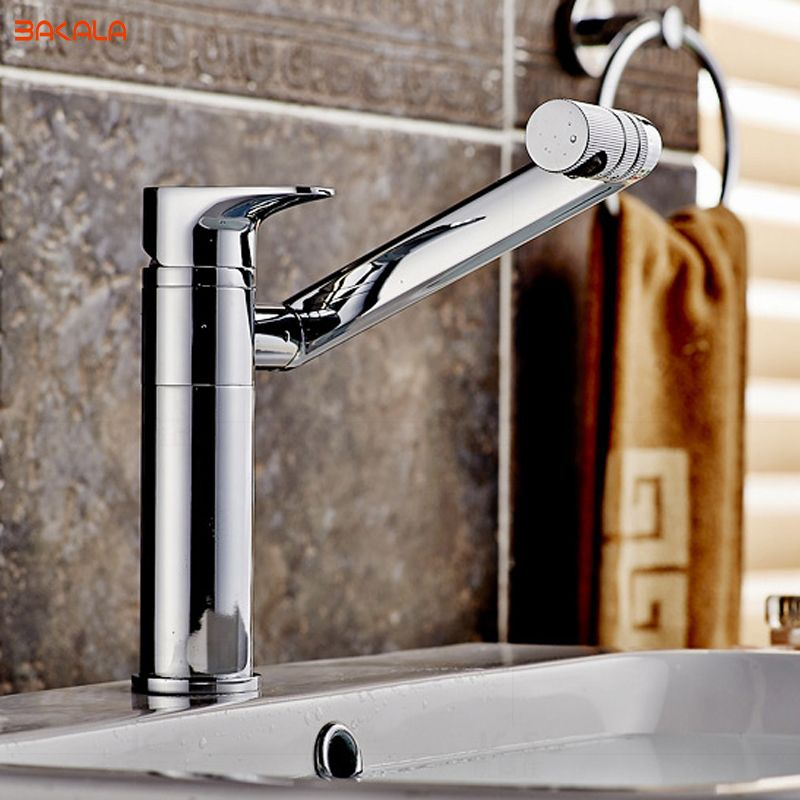 BAKALA tout cuivre salle de bain robinet 360 degrés rotation lavabo comptoir bassin chaud et froid mélangeur robinets LT-605/LT-606