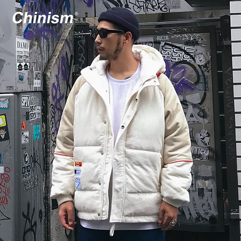 CHINISM Conduroy Patchwork Hooded Parkas Mens Streetwear Hip Hop Outwear Coats 2018 Winter Warm Thick Hoodie Parkas