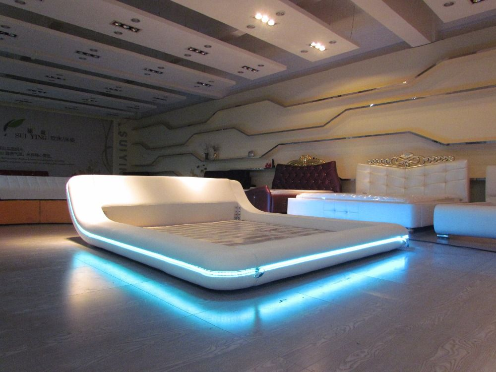 remote control contemporary modern leather LED bed King size bedroom furniture Made in China