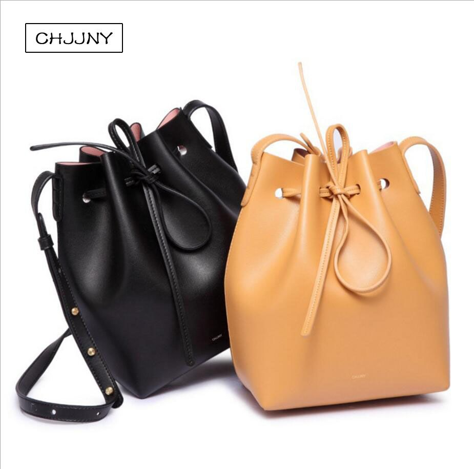 chjjny real genuine leather drawstring bucket bag designer Gavriel and Mansur brand luxury female belt strap shoulder hand catch