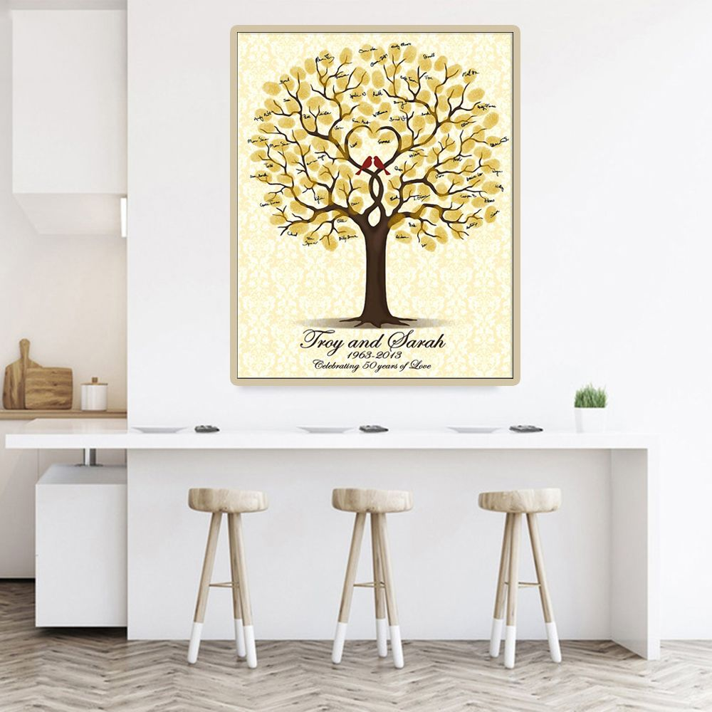 Wedding Guest Book Personalized Wedding Gifts for Guests Lovebird Fingerprint Tree Painting Party Decorations livre d'or mariage