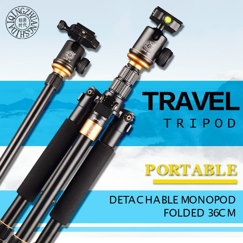 Q999S Travel 36cm Aluminum Professional Camera Tripod with Ball head Monopod Q9S Stand Kit For DSLR SLR Better Than Q111