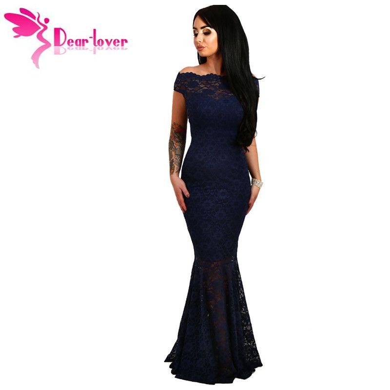 Dear-Lover Lace Dresses Party Gowns Off Shoulder Ladies Robe de Soiree Navy Fishtail Maxi Dress Vestidos longo de festa LC61481