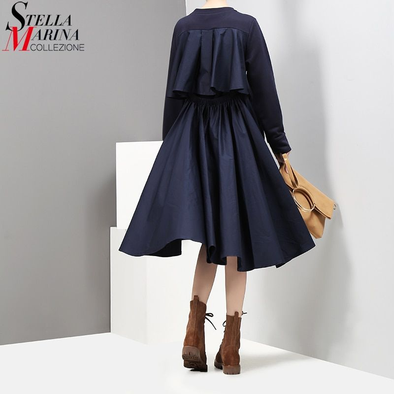 2017 New Autumn Women Navy Midi Straight Dress O Neck Long Sleeved Back Pleated Ladies Casual Dress Casual Wear Dress Robe 2917