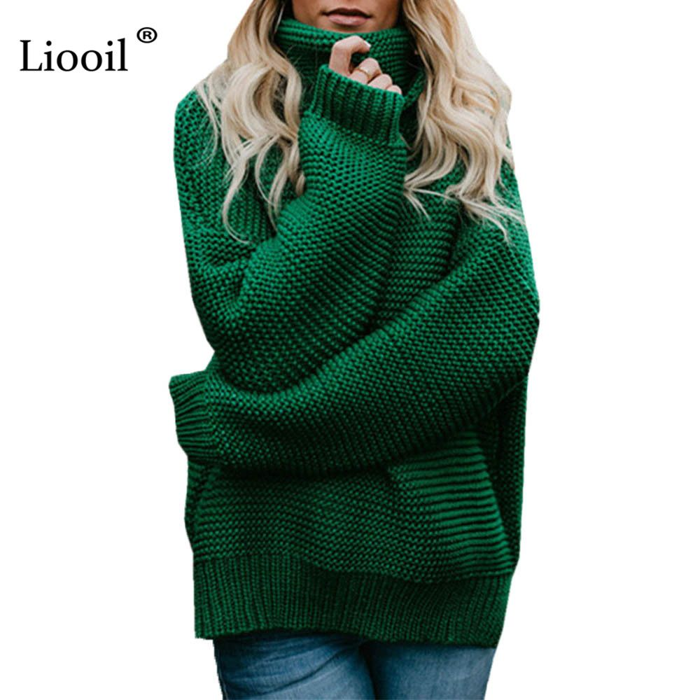 Liooil Casual Winter Knit Sweater Top Turtleneck Pullover Women Fashion Female Jumper Long Sleeve Pull Femme Hiver Sexy Sweater