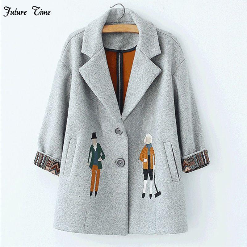 2018 automne femmes manteaux, mode Européen Femelle de laine vestes Broderie outwear hiver gris manteaux cachemire manteau femme C0361