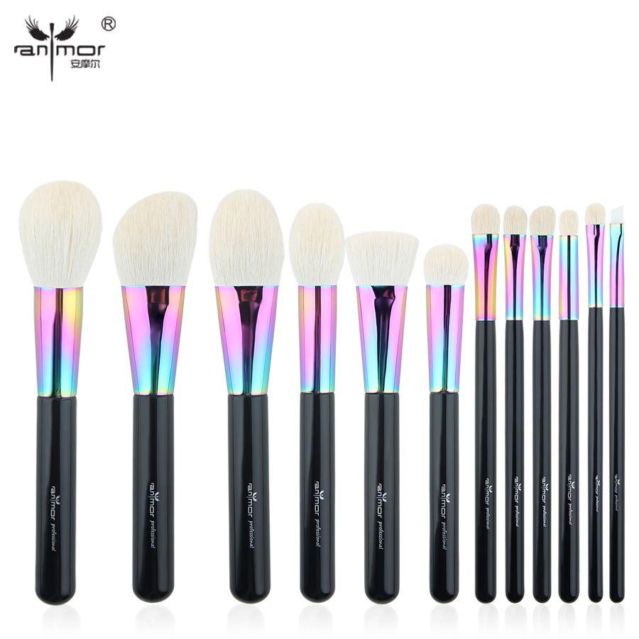 Anmor High Quality Goat Hair Makeup Brushes Set Luxurious 12 pcs Make Up Brushes Professional Makeup Tools  CFCB-YF10