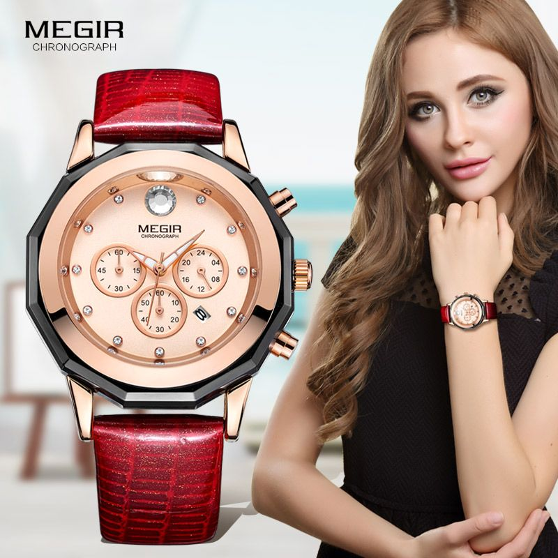 Megir Women's 24-hour Chronograph Red Leather Strap Quartz Watches with Luminous Hands Waterproof Wristwatch for Woman Date 2042