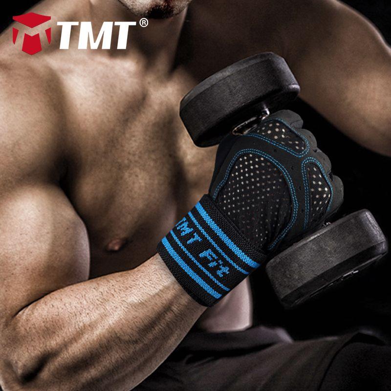 TMT gym gloves dumbbell Half Finger Fitness Fingerless Sport Training Gloves Men Women Weight Lifting Gloves Protect Wrist