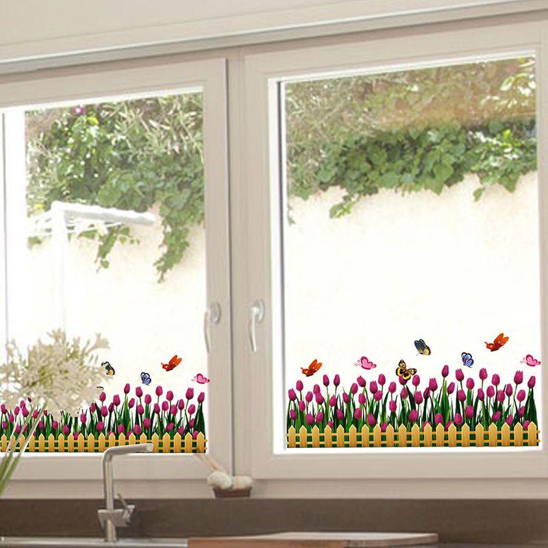 [SHIJUEHEZI] Zócalo de la Placa Base Etiqueta de la Ventana De Vinilo de Flores Tulipanes Flores para Decoración de La Ventana de la Sala de Cristal Adesivos