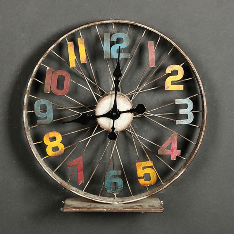 iron Desk clock watch Retro Large Table Clock homeretro decor reloj despertador al fajr clock watches quartz Bicycle metal klok