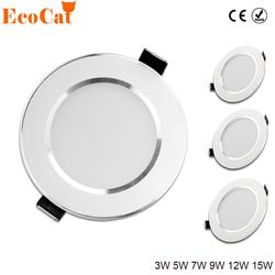 LED Downlight 3 W 5 W 7 W 9 W 12 W 15 W 220 V 240 V LED Ceiling kamar Mandi Lampu Kamar Lampu Rumah Pencahayaan Dalam Ruangan