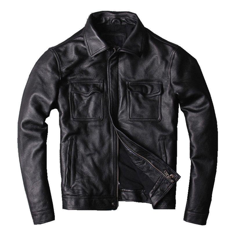 2018 Black Men Men's Leather Jacket Plus Size XXXXXL Genuine Cowhide Winter Russian Slim Fit Casual Leather Coat FREE SHIPPING