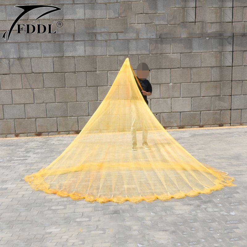 Mit Platinen Amerikanische Hand Cast Net 2,5 mt 3,3 mt Fangen Fischernetz Woven nylon gewinde Cast Net Fly Hand werfen Gill Netzwerk