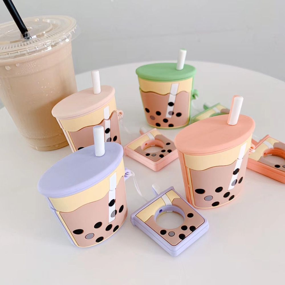For Apple Airpods Bluetooth Wireless Earphone Protective Skin Cover Box Cute Tea cup Earphones Case for Air Pods Ring lanyard