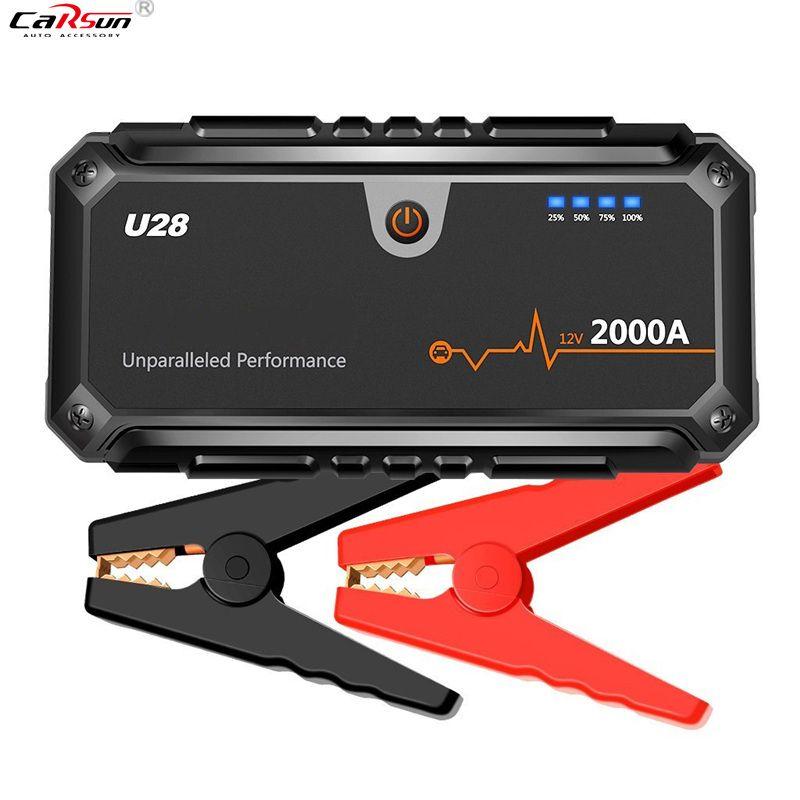 CARSUN U28 2000A Peak Jump Starter Pack Portable Power Bank LED Flashlight Smart Battery Clamps For 12V Car Boat